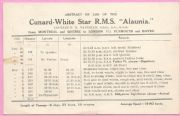 ALAUNIA (1925, Cunard White Star Line) abstract of log